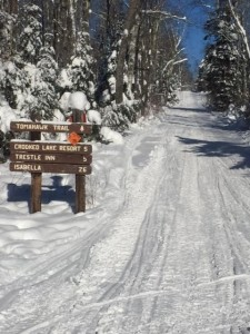 Tomahawk snowmobile trail sign in winter, Two Harbors MN
