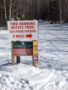 Two Harbors access trail sign, leading towards Country Inn Two Harbors