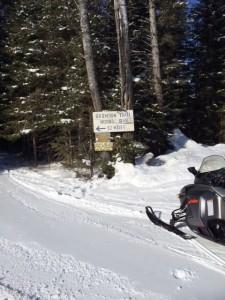 Brimson Trail 12 mile marker on snowmobile trail